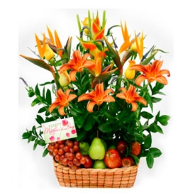 Fruit and Flowers Basket for Mom